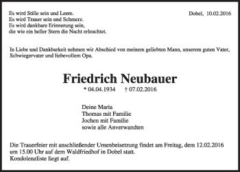Zur Gedenkseite von Friedrich Neubauer