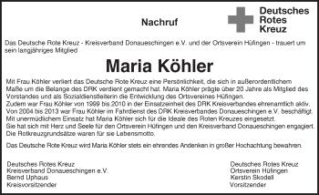 Zur Gedenkseite von Maria Köhler