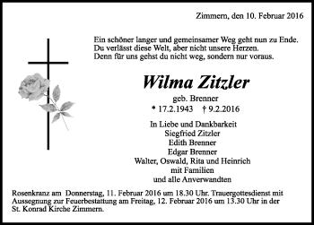 Zur Gedenkseite von Wilma Zitzler