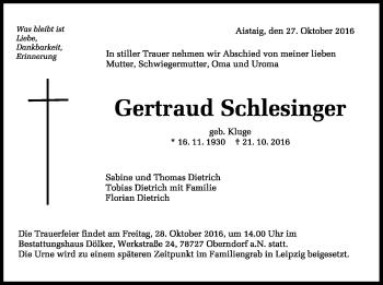 Zur Gedenkseite von Gertraud Schlesinger