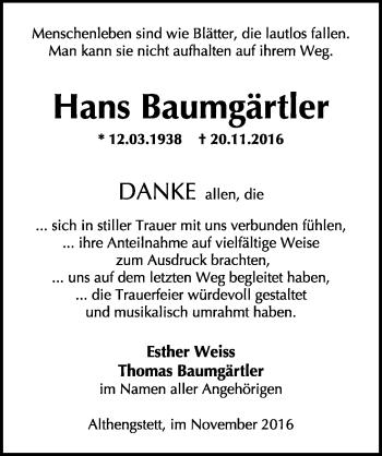 Zur Gedenkseite von Hans Baumgärtler