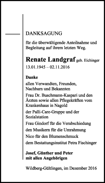 Zur Gedenkseite von Renate Landgraf