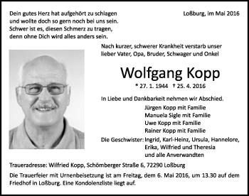 Zur Gedenkseite von Wolfgang Kopp