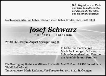 Zur Gedenkseite von Josef Schwarz