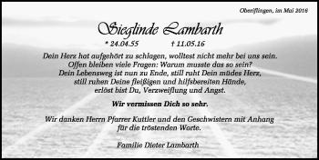 Zur Gedenkseite von Sieglinde Lambarth