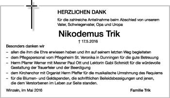 Zur Gedenkseite von Nikodemus Trik