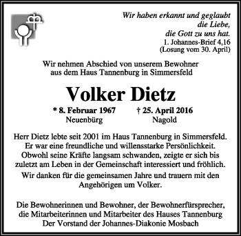 Zur Gedenkseite von Volker Dietz