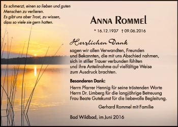 Zur Gedenkseite von Anna Rommel