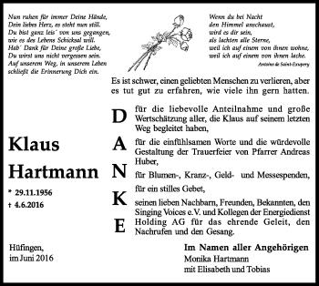 Zur Gedenkseite von Klaus Hartmann