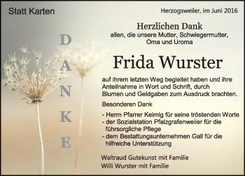 Zur Gedenkseite von Frida Wurster