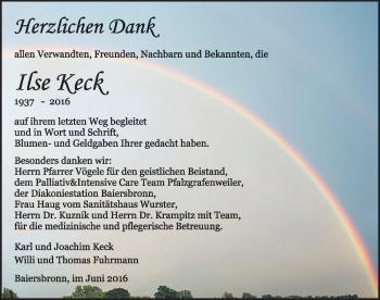 Zur Gedenkseite von Ilse Keck