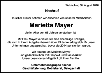 Zur Gedenkseite von Marietta Mayer