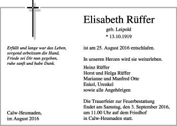 Zur Gedenkseite von Elisabeth Rüffer