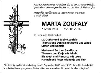 Zur Gedenkseite von Marta Zoufaly