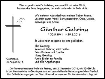 Zur Gedenkseite von Günther Gehring