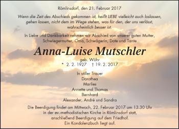 Zur Gedenkseite von Anna-Luise Mutschler