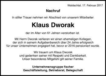 Zur Gedenkseite von Klaus Dworak