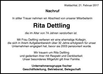 Zur Gedenkseite von Rita Dettling