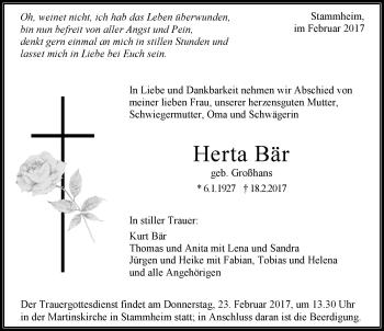 Zur Gedenkseite von Herta Bär