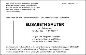 Zur Gedenkseite von Elisabeth Sauter