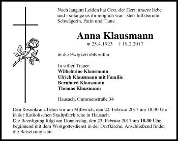Zur Gedenkseite von Anna Klausmann